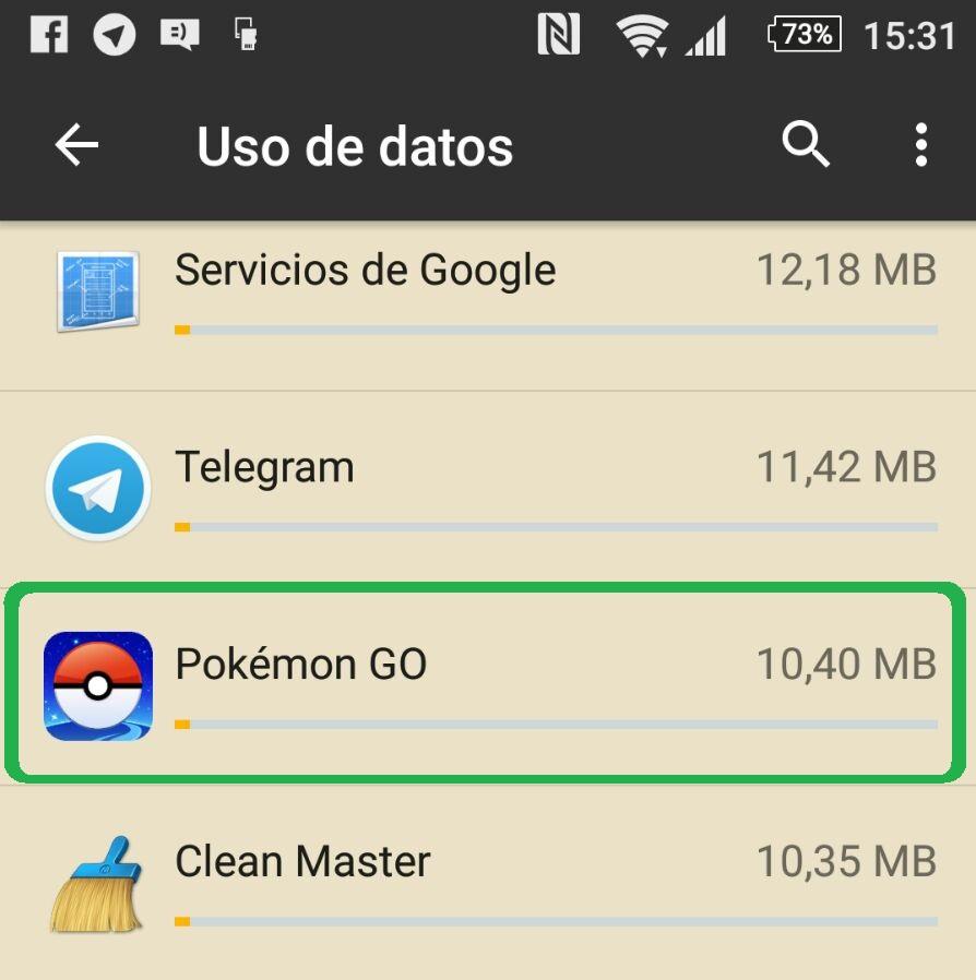 Consumo de datos en Pokemon GO