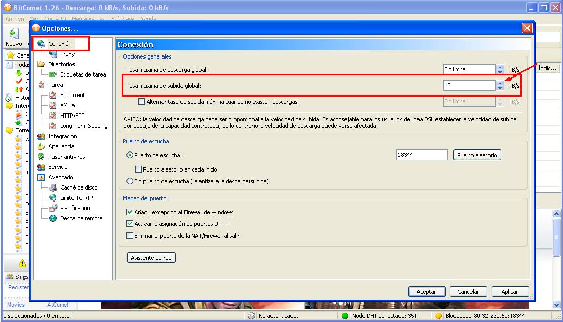 Configurando los p2p emule ares utorrent for Porte utorrent