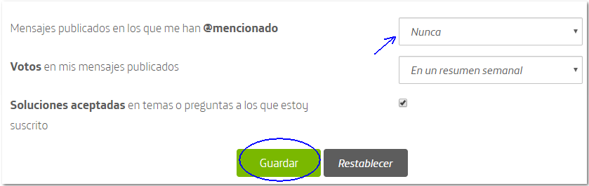 Desactivar notificaciones mediante e-mail