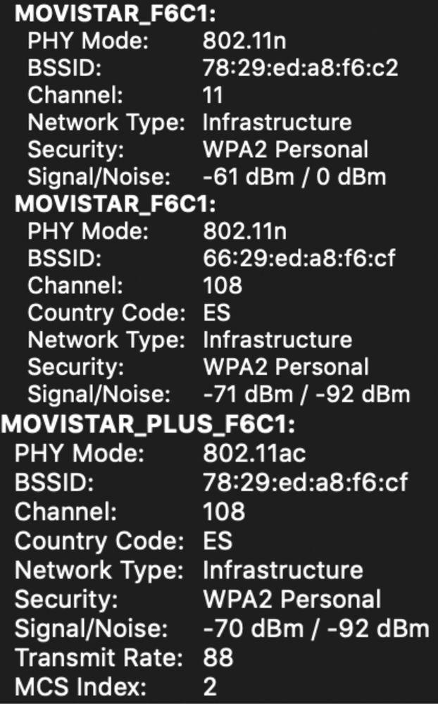 Las tres redes detectadas por mi ordenador, y sus respectivos canales
