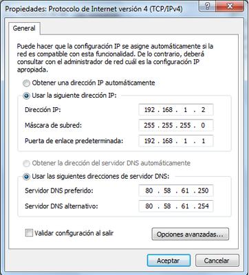 Configuracio IP