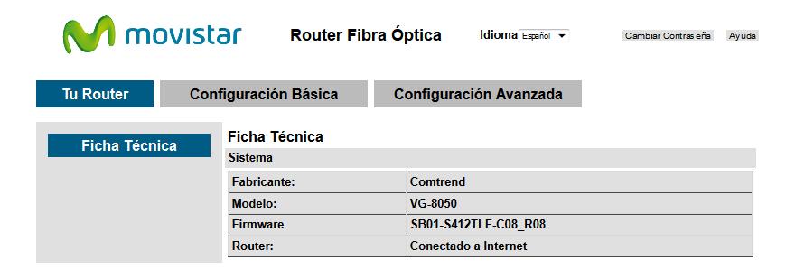 Inicio acceso al router VG8050