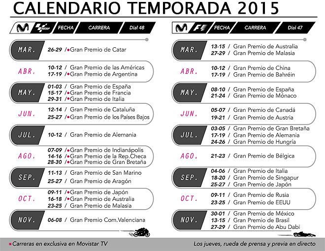 Calendario Movistar F1 y Movistar MotoGP