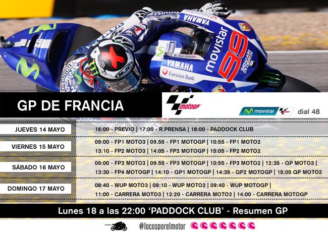 Horarios GP de Francia de MotoGP en Movistar TV