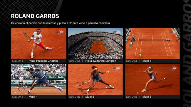 Mosaico de Movistar TV para Roland Garros 2015 en el dial240